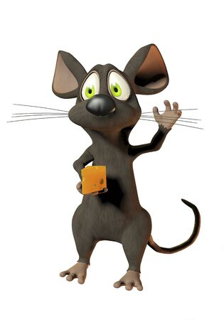 cheeky cartoon mouse holding a wedge of cheese Stock Photo