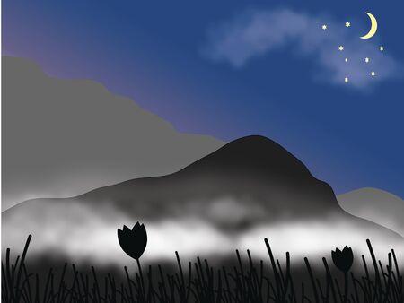 mistige Nachtlandschap van heuvel en de maan Stockfoto