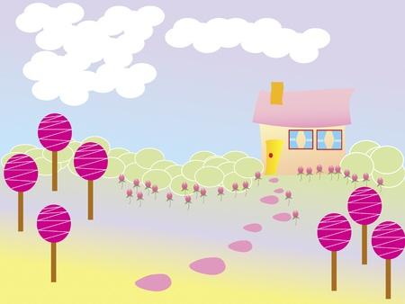 peperkoek huis in lollipop en flower garden Stockfoto