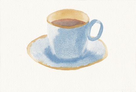 hand painted watercolor painting of teacup and saucer Stock Photo