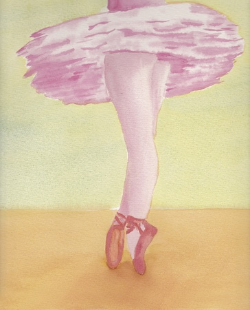 hand painted watercolor painting of ballerina
