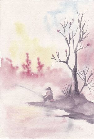 hand painted watercolor of a person fishing Stock Photo