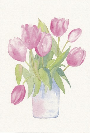hand painted watercolor of a bunch of tulips