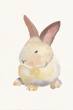hand painted watercolor of a baby rabbit