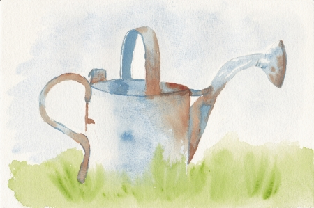 hand painted watercolor of a rusty watering can