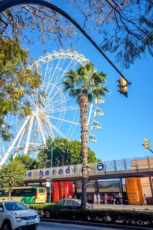 Giant Ferris Wheel operating in the City of Malaga, Spain