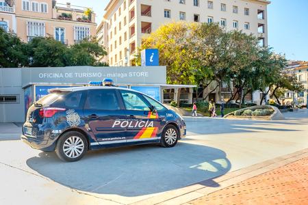 Police car parked Malaga, Costa del Sol, Malaga Province, Andalucia, Spain,