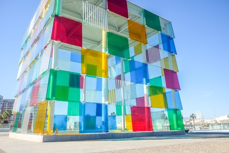 Contemporary museum Pompidou centre in Malaga, Andalusia, Spain. Editorial