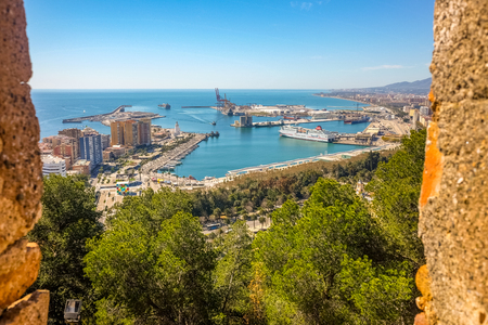 Malaga city panoramic view from castle Andalusia, Spain