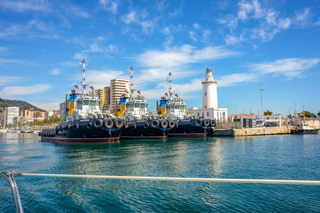 Ships moored in malaga harbor. Malaga, andalusia Spain Stock Photo