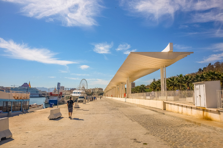 Palmeral de las Sorpresas promenade at port in Malaga.