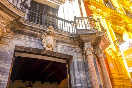 Episcopal Palace in facade Malaga, Andalusia Spain