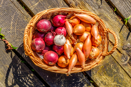 onions shallots and garlic in a wicker basket