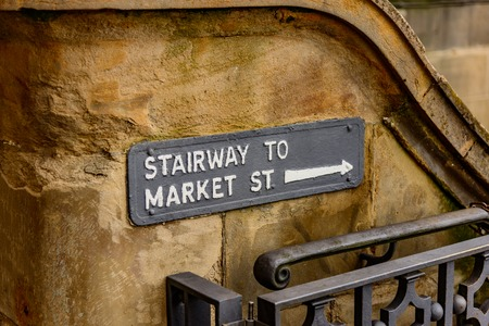 stairway to market street sign in edinburgh scotland