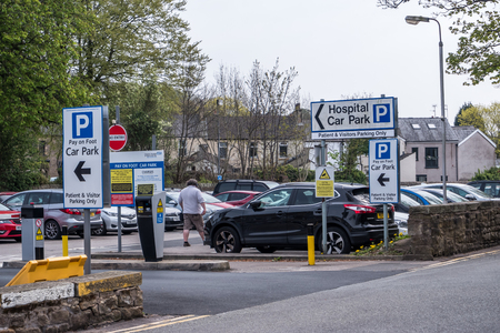 lancaster england uk april 18 2019 entrance to visitor and outpatient car park