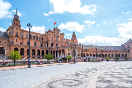 The Plaza de Espania is a Square located in the Park in Seville Built in 1928 for the Ibero American Exposition of 1929 an example of the Renaissance Revival style.