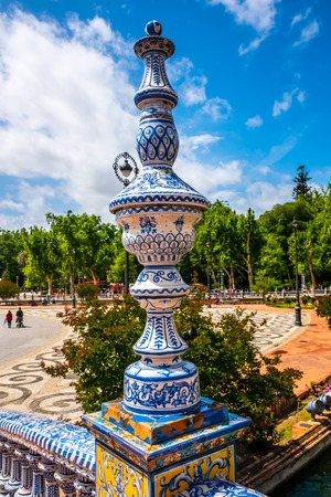 detail on a bridge at the Plaza de Espana in the city of Seville in the Andalusia region of Spain