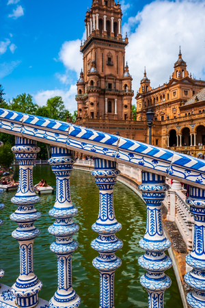 Architectural detail on a bridge at the Plaza de Espana in the city of Seville in the Andalusia region of Spain