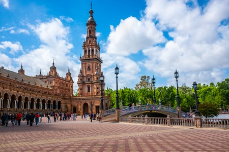The Plaza de Espania is a Square located in the Park in Seville Built in 1928