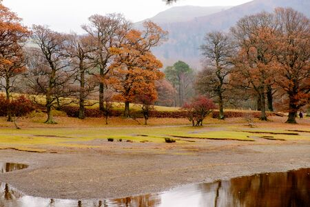 Shoreline of Derwentwater with beautiful autumnal trees