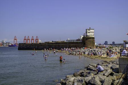 persone che nuotano nel mare a New Brighton