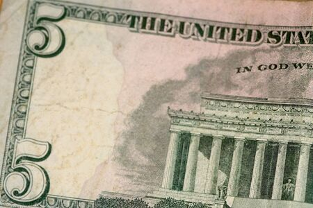 selective focus macro shot of assorted us banknotes 写真素材 - 142151272