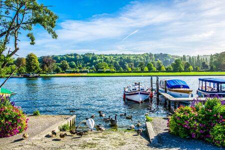 Boats on River Thames at Henley-on-Thames, Oxfordshire, United Kingdom UK