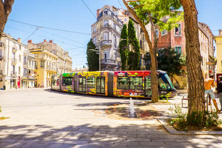 France Montpellier 4 August 2016 tram in Montpellier, France. The Montpellier tramway system has 4 lines
