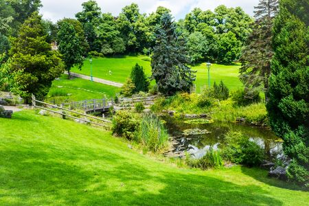 View accorss the ponds and lawns at Japanese Garden in Avenham and Miller Park, Preston