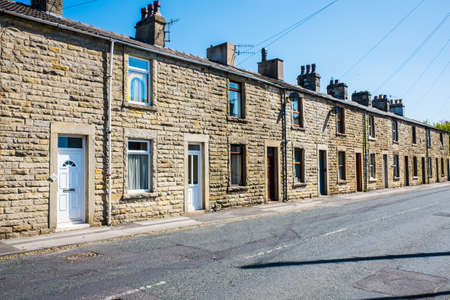 Carnforth Uk 25 May 2020 Row of smart terraced house in Carnforth