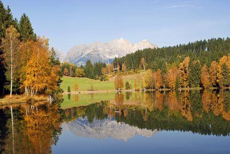 Panoramic view of mountains and lake at Schwarzsee - Kitzbuhel Austria