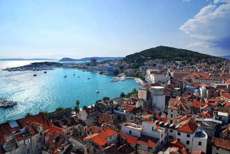 View of Split port and city and marjan hill- Croatia