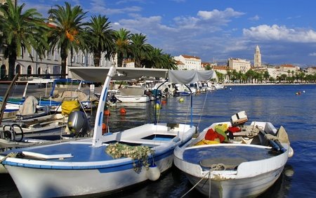 View of Split port and city with boats - Croatia