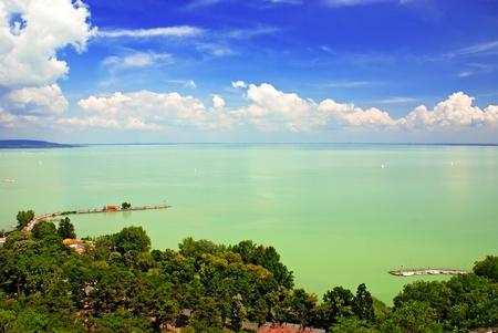 balaton: Balaton lake from Tihany abbey