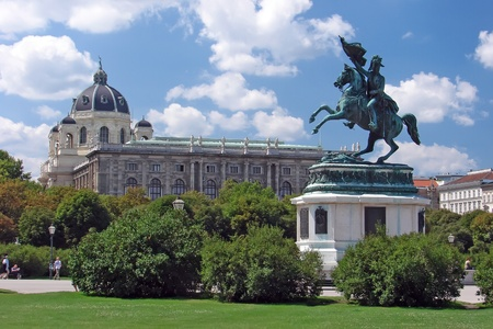 View of horse statue at Volksgarten - Vienna - Austria photo
