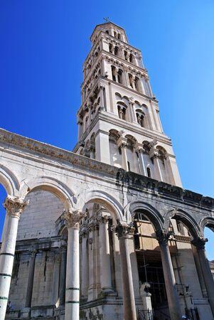 Down view of Split's Belfry - Croatia Stock Photo