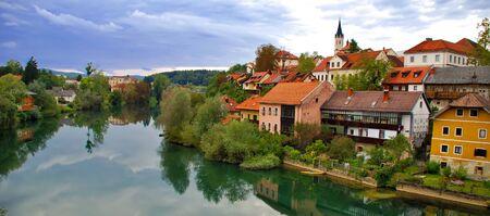 View of Novo Mesto riverside from bridge - Slovenia Reklamní fotografie