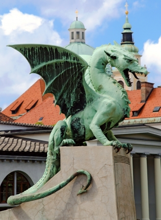 Slovenia Ljubljana Dragon at Zmajski most vertical