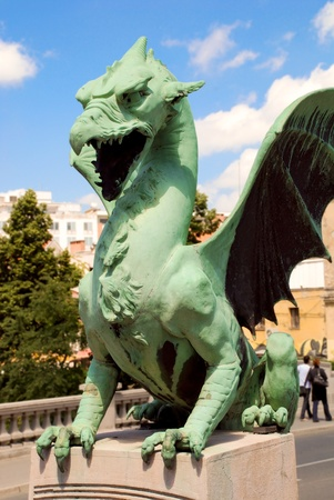 holidays vacancy: Slovenia Ljubljana Dragon portrait at Zmajski Most