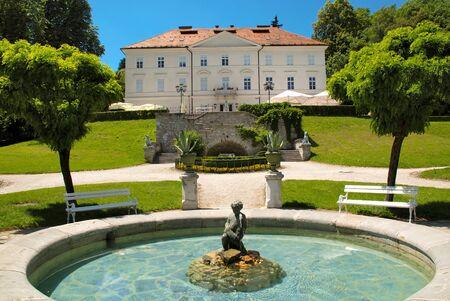 Slovenia Ljubljana Tivoli castle and fountain horizontal view