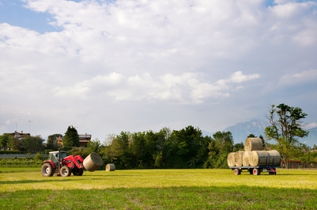 Tractor picking up hay bales landscape photo