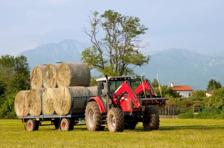 Tractor with hay bales barrel photo