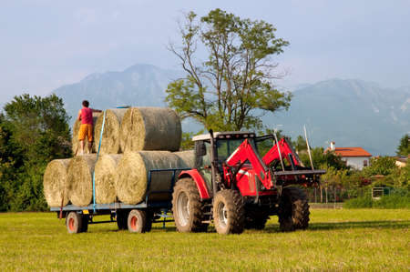 Tractor with hay bales barrel and countryman photo