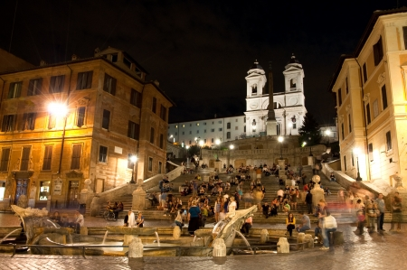 spagna: Night view at Piazza di Spagna and trinita dei Monti - roma - Italy Editorial