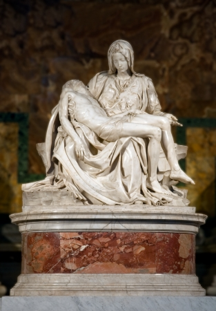 saint peter: Pieta Michelangelo Buonarroti vertical at St Peter Basilica - Vaticano - Italy