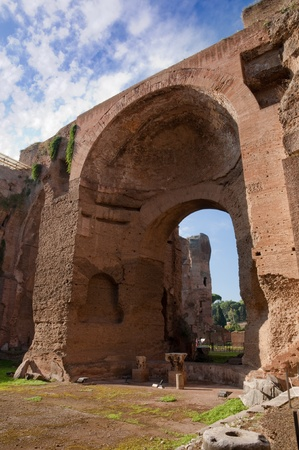Terme di Caracalla - Swimming pools ruins vertical - Roma - Italy Stock Photo