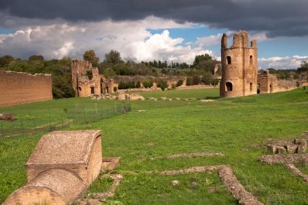 Ruins from Circo di Massenzio in Via Apia Antica at Roma - italy