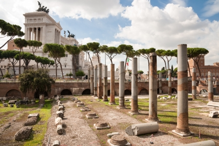 Columns at Fori Imperiali and Monumento a Vittorio Emanuele 2 at Roma - Italy