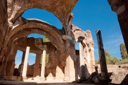 Grandi terme ruins at Villa Adriana horizontal view at Roma - Italy Stock Photo