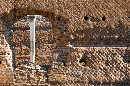 Ancient roman bricks walls and window at Villa Adriana in Tivoli - Roma - Italy photo
